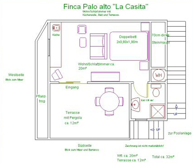 Teneriffa Ferienhaus La Casita Lay out